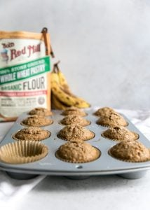 baked healthy banana muffins with whole wheat pastry flour