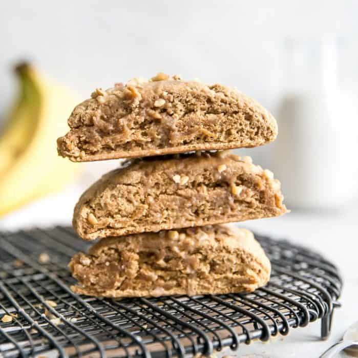 stacked banana scones on cooling rack