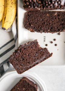 chocolate banana bread with bite