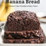 healthy chocolate banana bread sliced on white platter