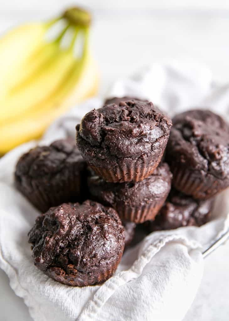 healthy chocolate banana bread made into muffins