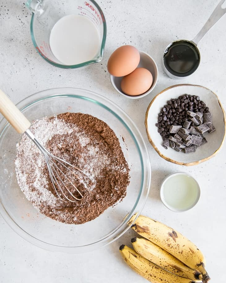 ingredients needed for chocolate banana bread