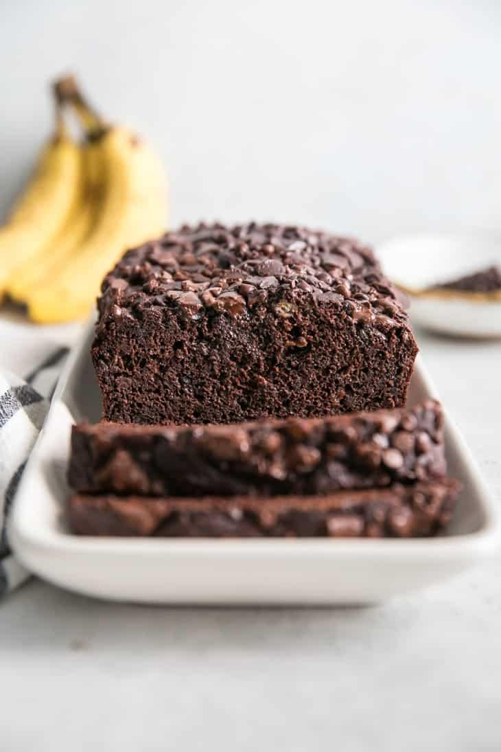 Chocolate Banana Bread On White Platter