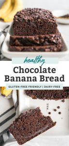 two photos of healthy chocolate banana bread sliced