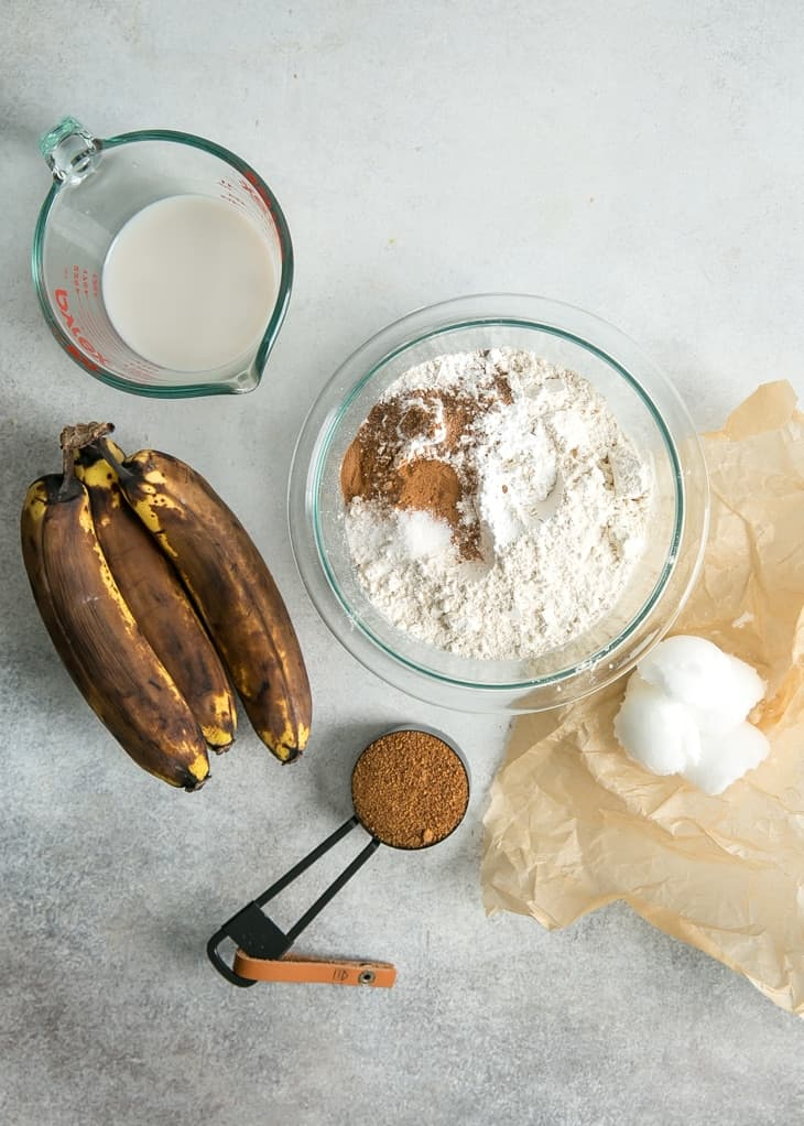ingredients for banana scones on gray surface