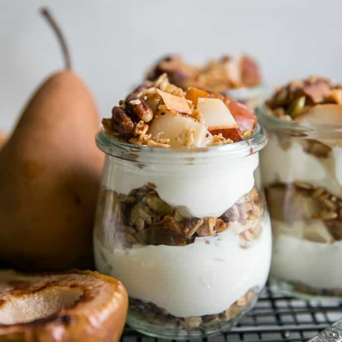 grilled pear parfaits with homemade granola in jars on cooling rack