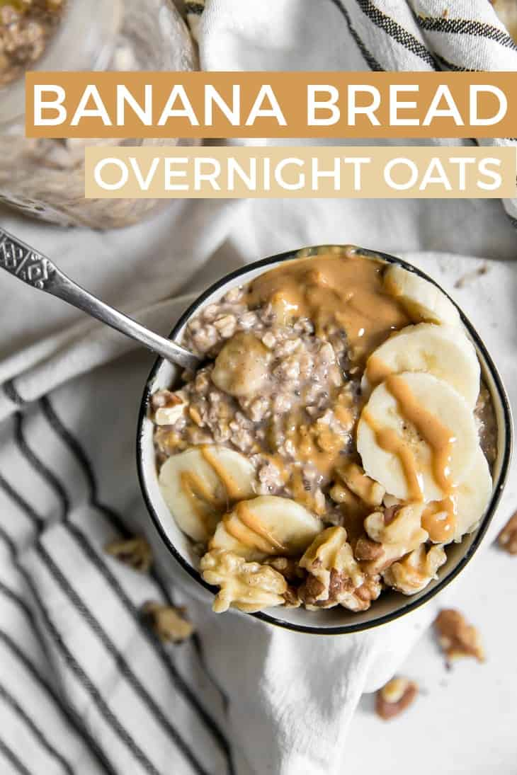 banana overnight oats in bowl with walnuts