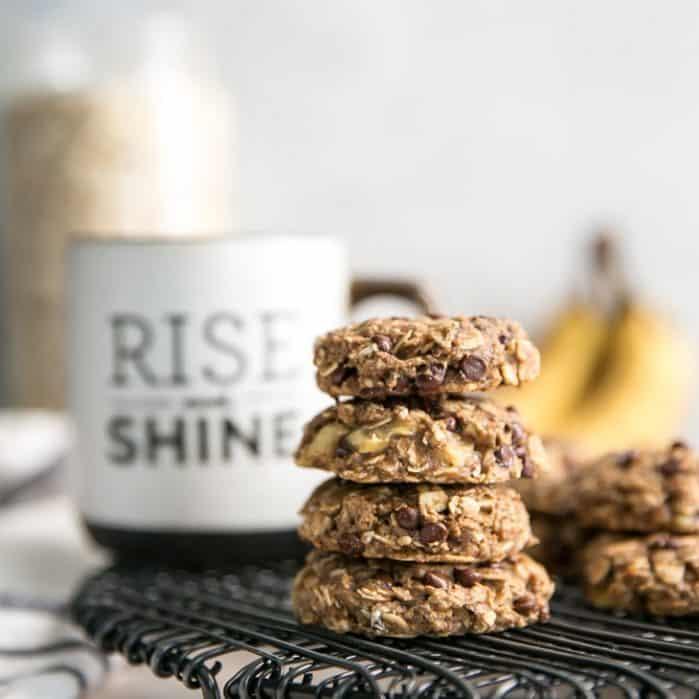 stack of banana breafkast cookies with Rise and Shine mug