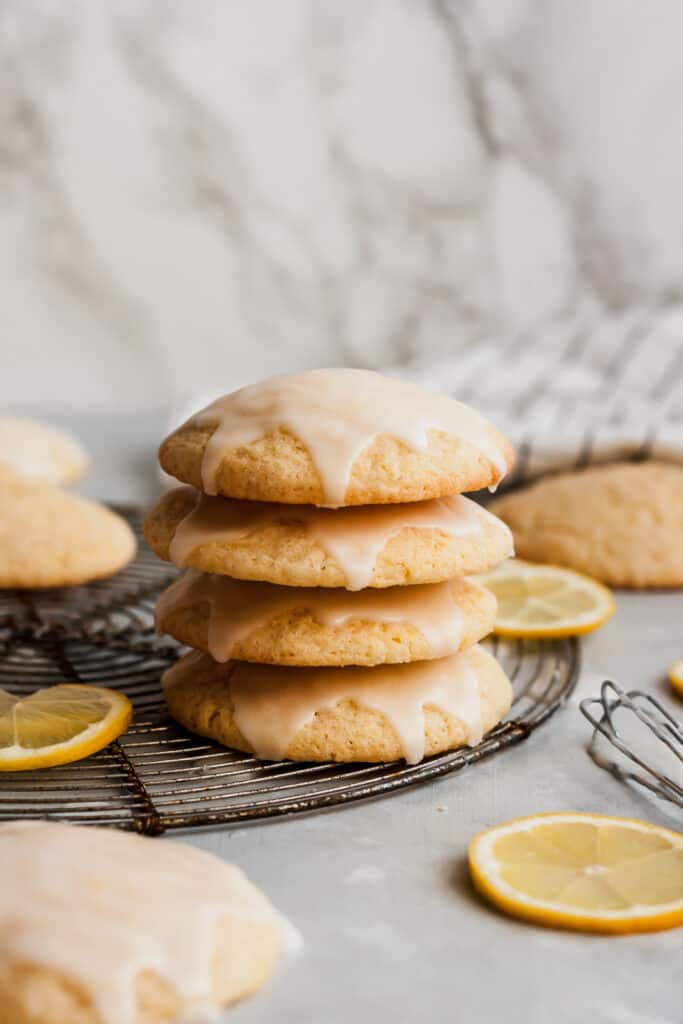 stack of cookies on a circle cooling rack