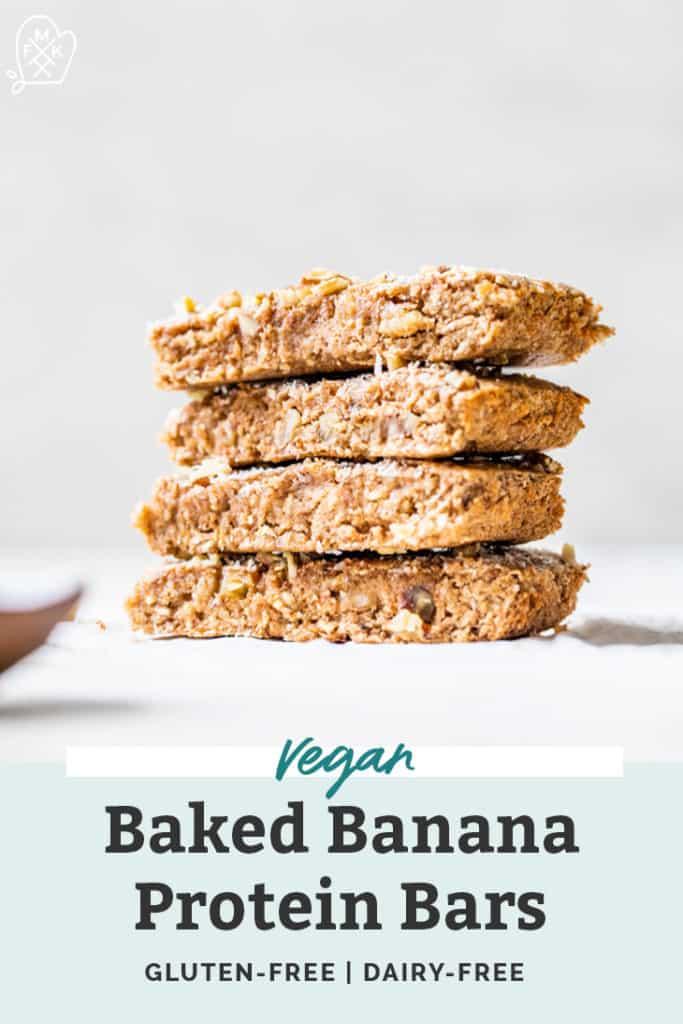 vegan baked banana bread protein bars stacked on countertop