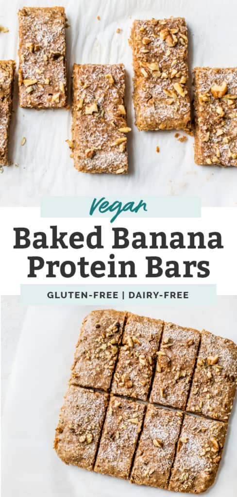 vegan baked banana bread protein bars cut up on countertop pinterest