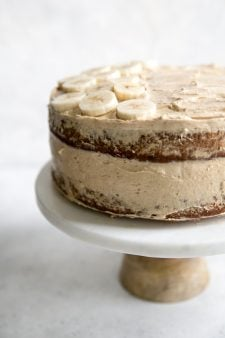 banana cake layered with peanut butter frosting
