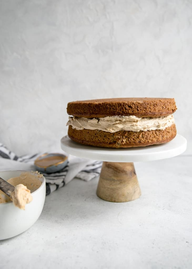 layered banana cake with peanut butter frosting