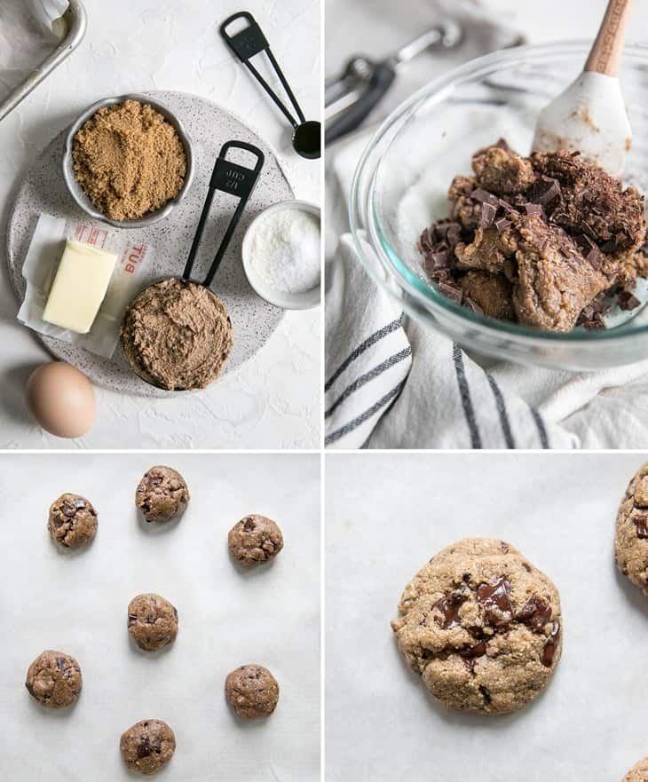 step by step how to make espresso cashew butter cookies collage with ingredients in black measuring scoop and cookie dough inclear mixing bowl