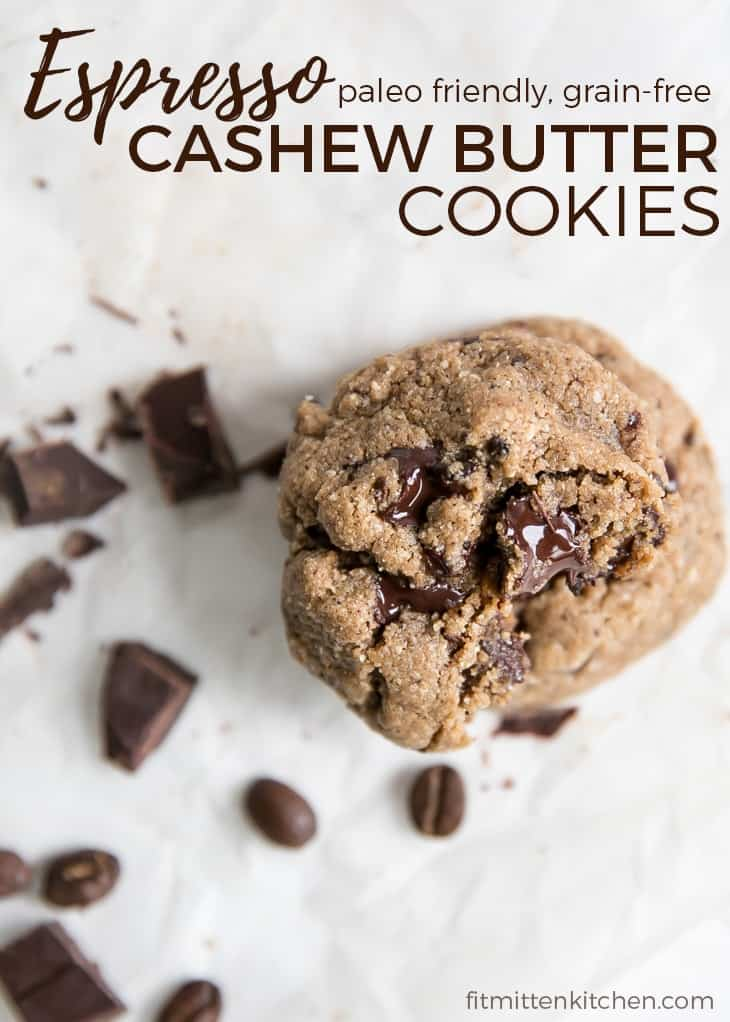 espresso cashew butter cookies grain free paleo friendly pinterest image