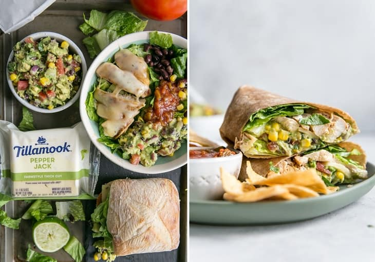 southwest chicken burrito bowl and wrap