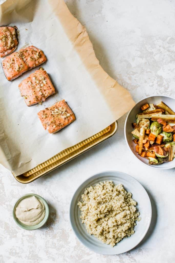 salmon on sheet pan with roasted veggies and quinoa