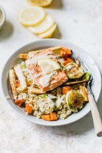 salmon on bowl or roasted veggies