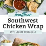 Southwest chicken wrap stacked on light blue plate