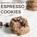 grain free paleo friendly espresso cookies with chocolate chunks and coffee beans on white board