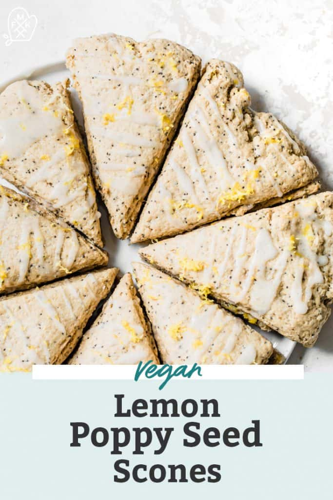 lemon poppy seed scones fashioned into a circle on white plate