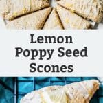 lemon poppy seed scones fashioned into a circle on white plate collage image
