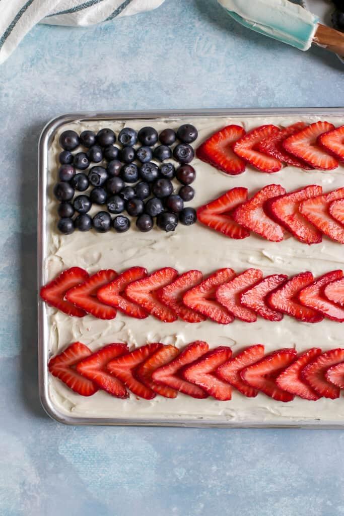american flag cake in baking pan