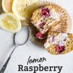 cut open lemon raspberry muffin with spoon