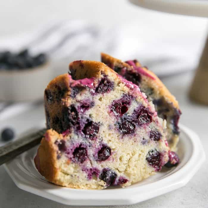 yogurt blueberry bundt cake on plate