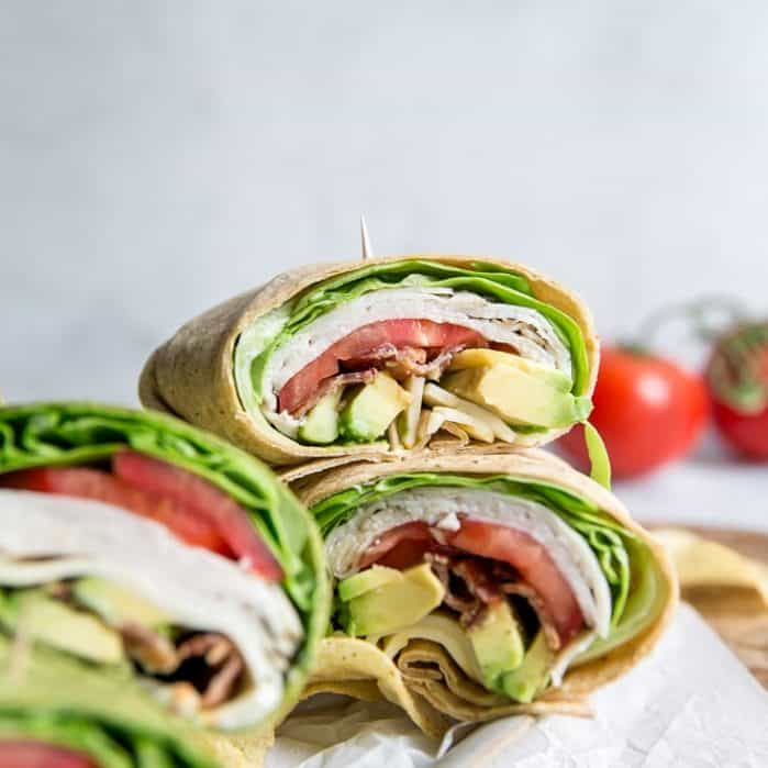 california turkey wrap with avocado and meunster