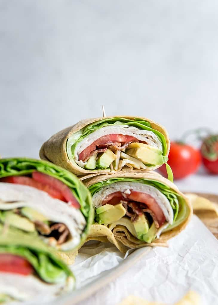 california turkey wrap with avocado and meunster