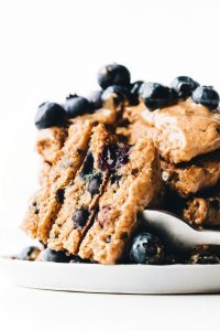 vegan blueberry pancake stack
