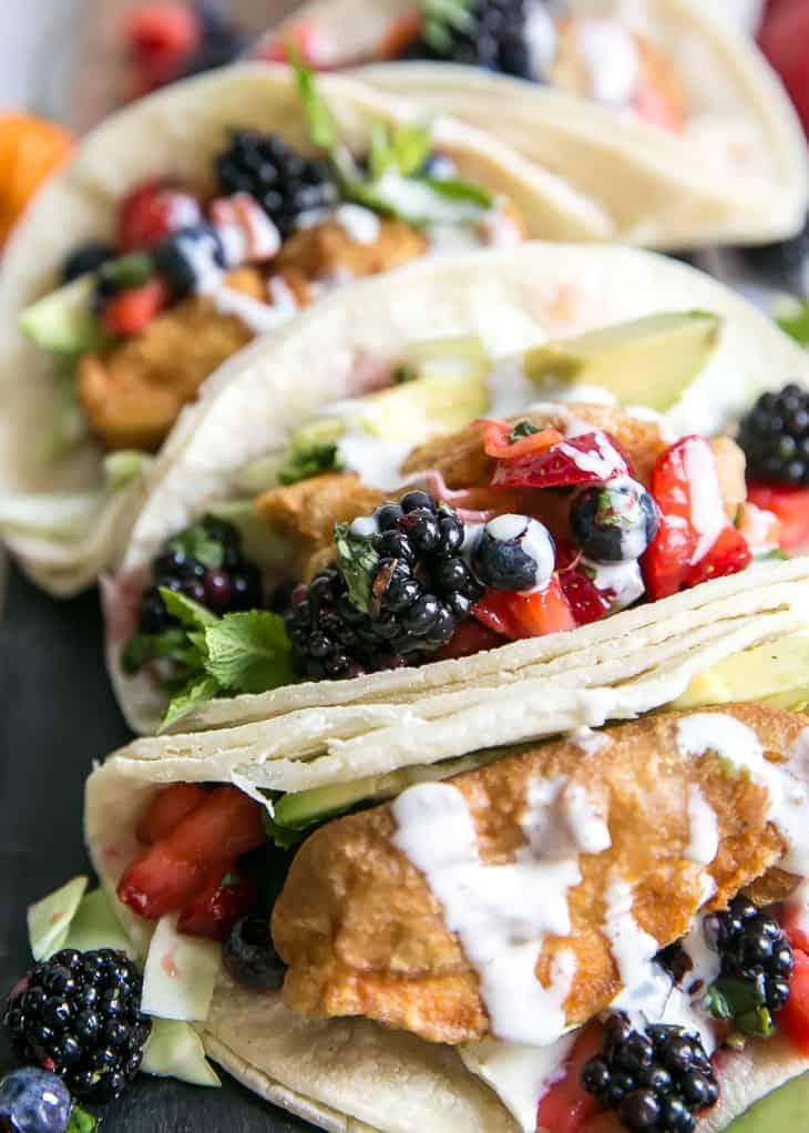 berry salsa with paleo fish tacos and lime crema