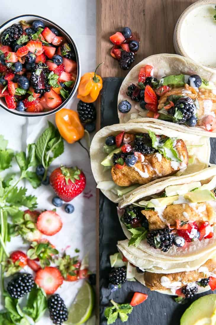 fish tacos with berries and peppers