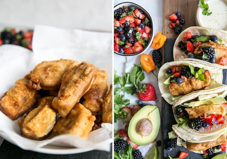 paleo fish tacos with berry salsa on board with avocado