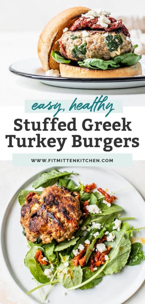 easy healthy stuffed greek turkey burger on salad