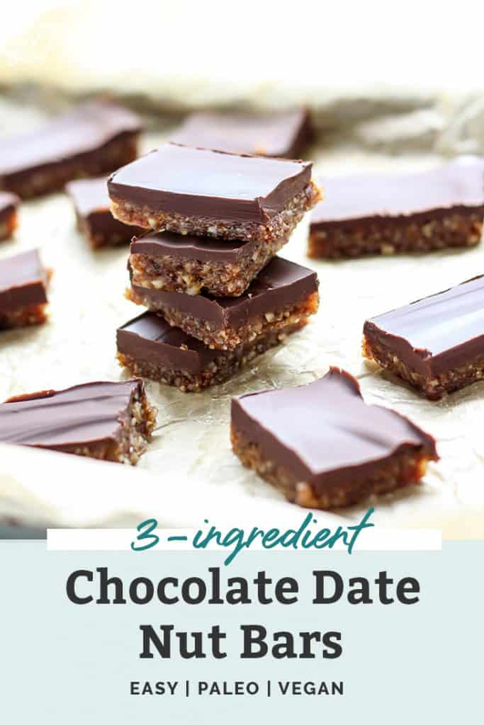 Stacked 3-ingredient chocolate date nut bars on parchment paper