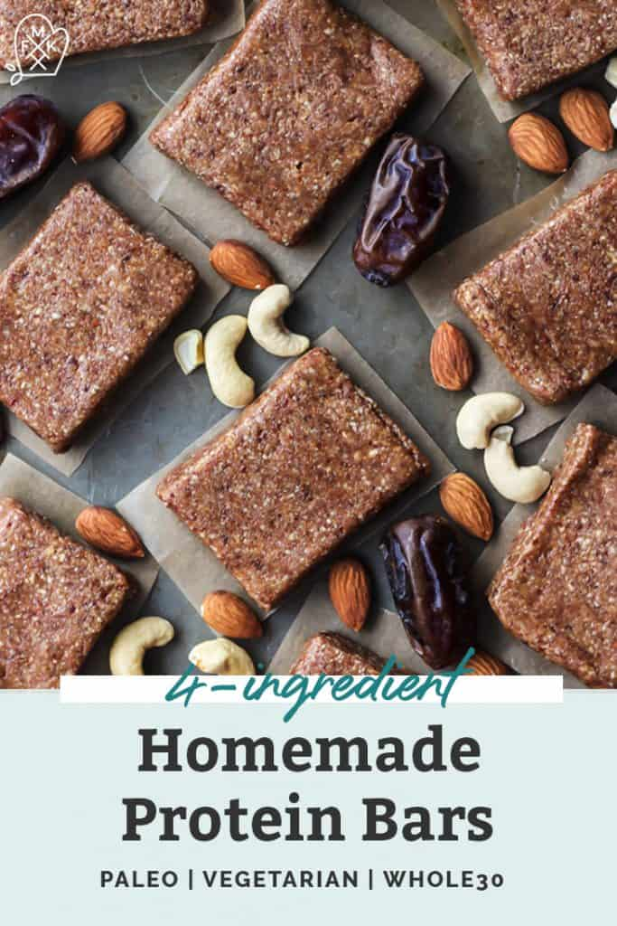 4-Ingredient Homemade Protein Bars pinterest image
