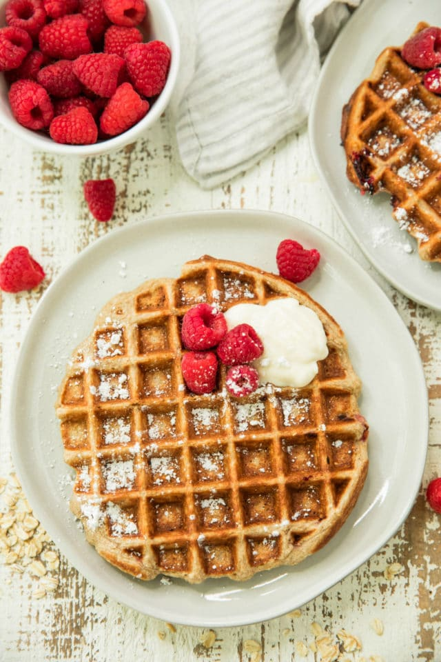 Raspberries topped on waffles