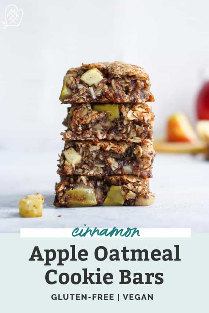 Vegan Apple Cinnamon Oatmeal Cookie Bars Gluten Free Fit