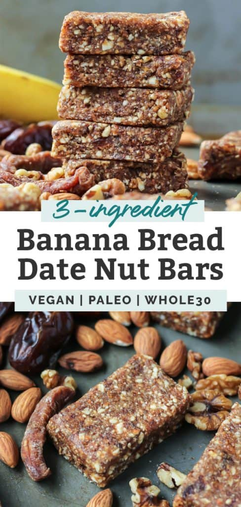 banana bread energy bars with fruit and nuts with text overlay