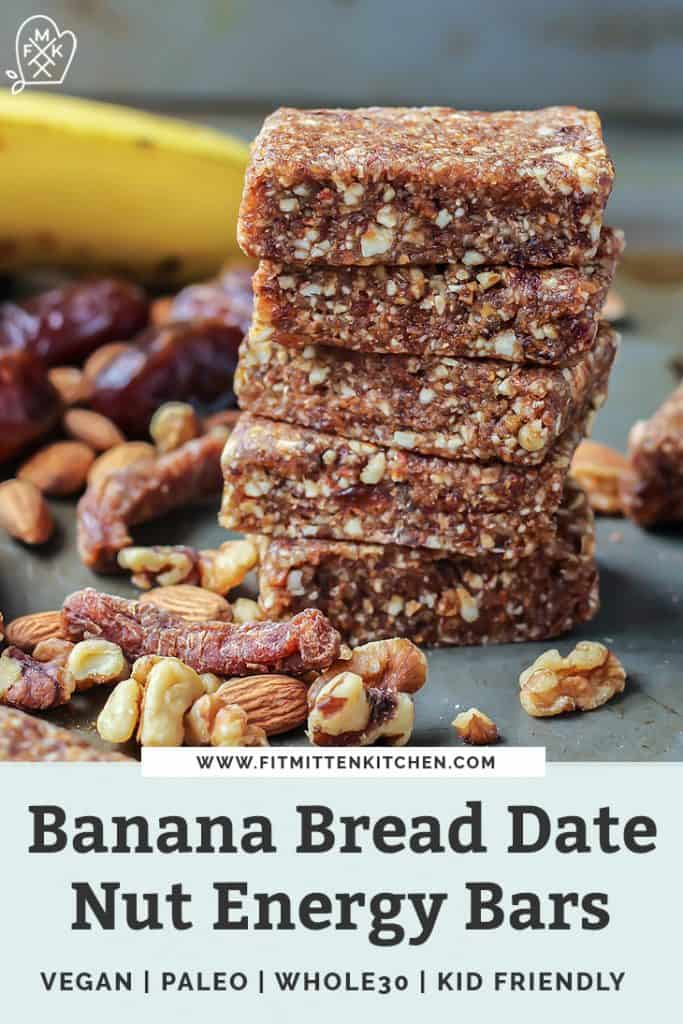 stack of banana bread energy bars with dried fruit and nuts with text overlay