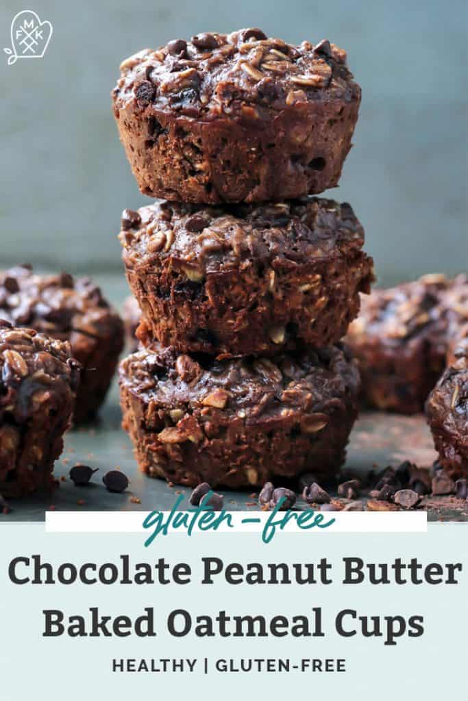Chocolate Peanut Butter Baked Oatmeal Cups with protein in stack pinterest image