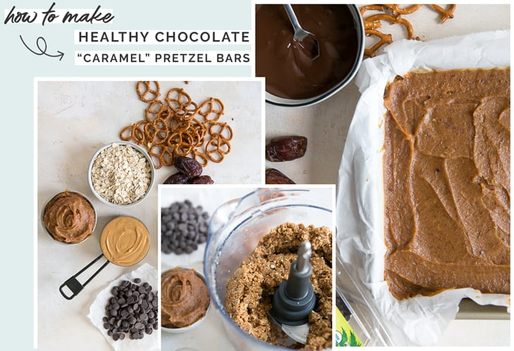 how to make chocolate caramel pretzel bars with dates for caramel