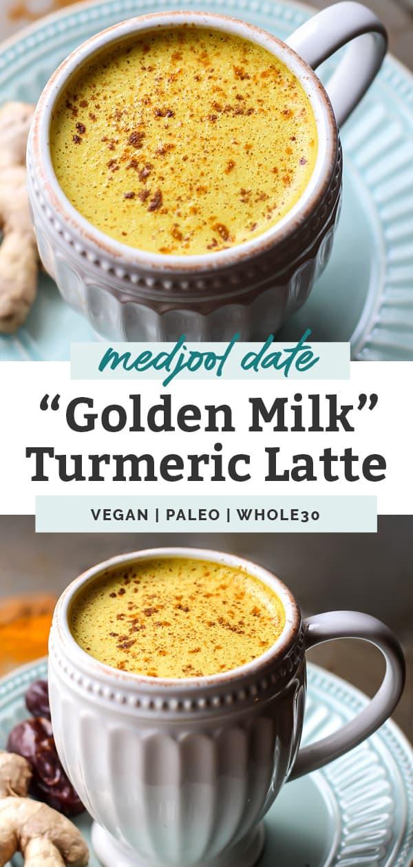 vegan paleo whole30 Medjool Date Golden Milk Turmeric Latte in white mugs