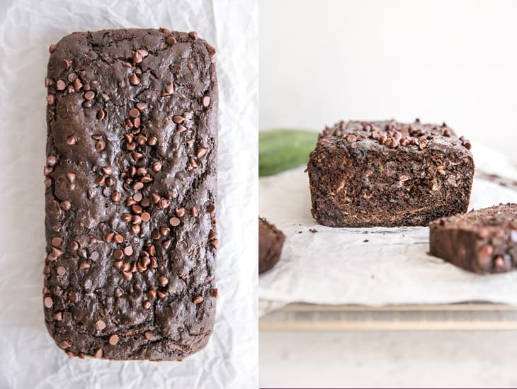 loaf of chocolate zucchini bread