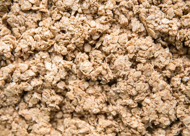 up close peanut butter granola texture