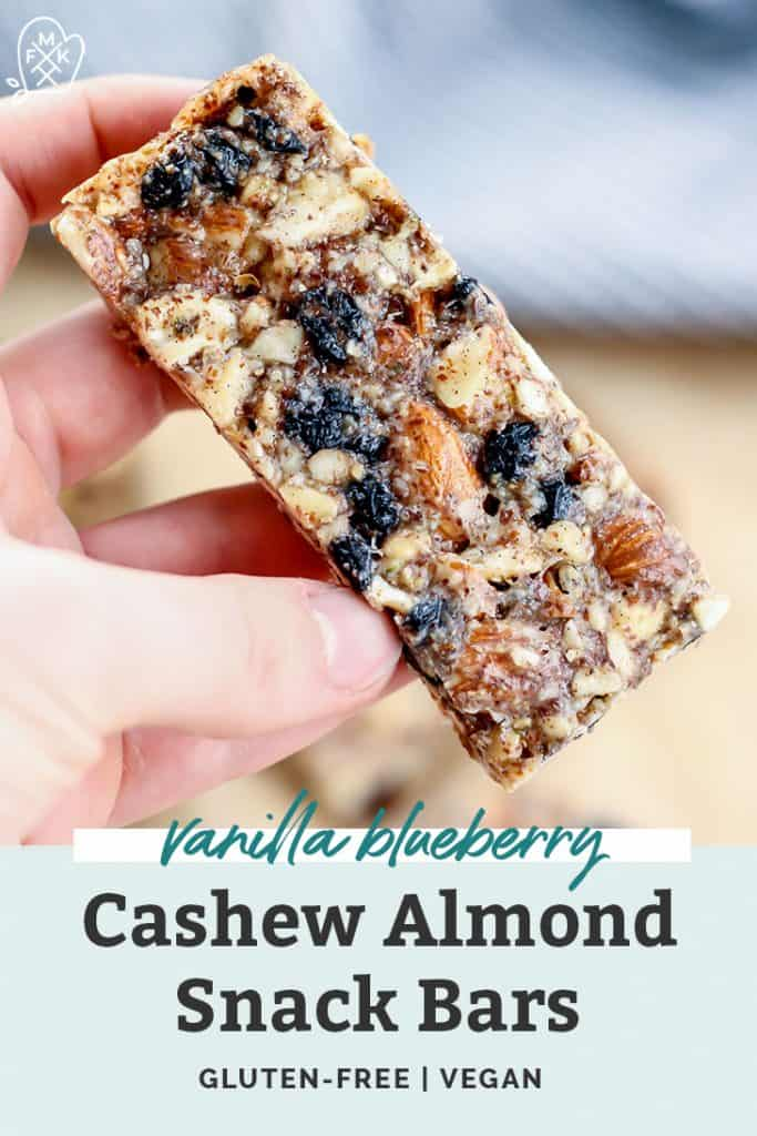 hand holding vanilla blueberry nut bar with text overlay