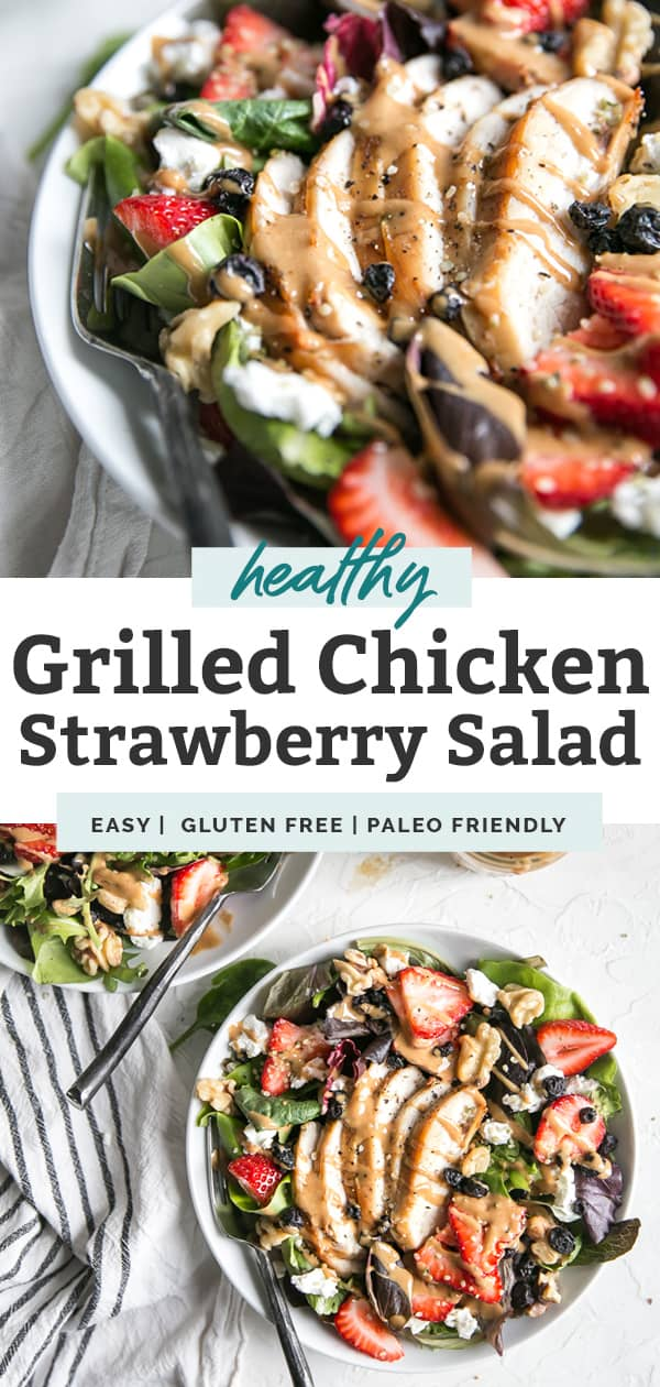 grilled chicken strawberry salad in a white bowl pin graphic