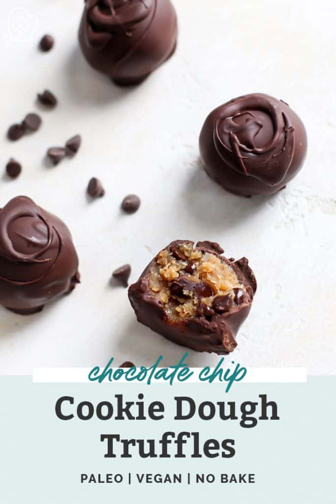 chocolate chip cookie dough truffles on countertop